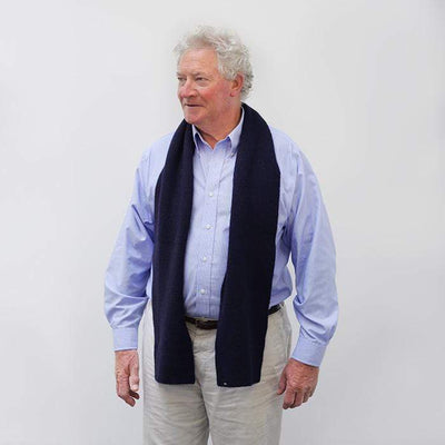 Navy Ribbed Barra Scarf - Navy