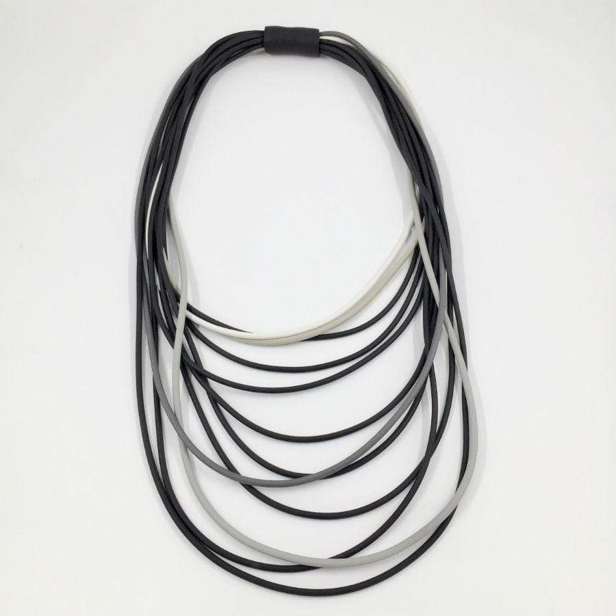 Neo Long Multi Necklace | Black Grey Mix