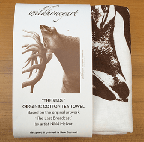 "Organic Terry Cotton Teatowel ""The Stag"""