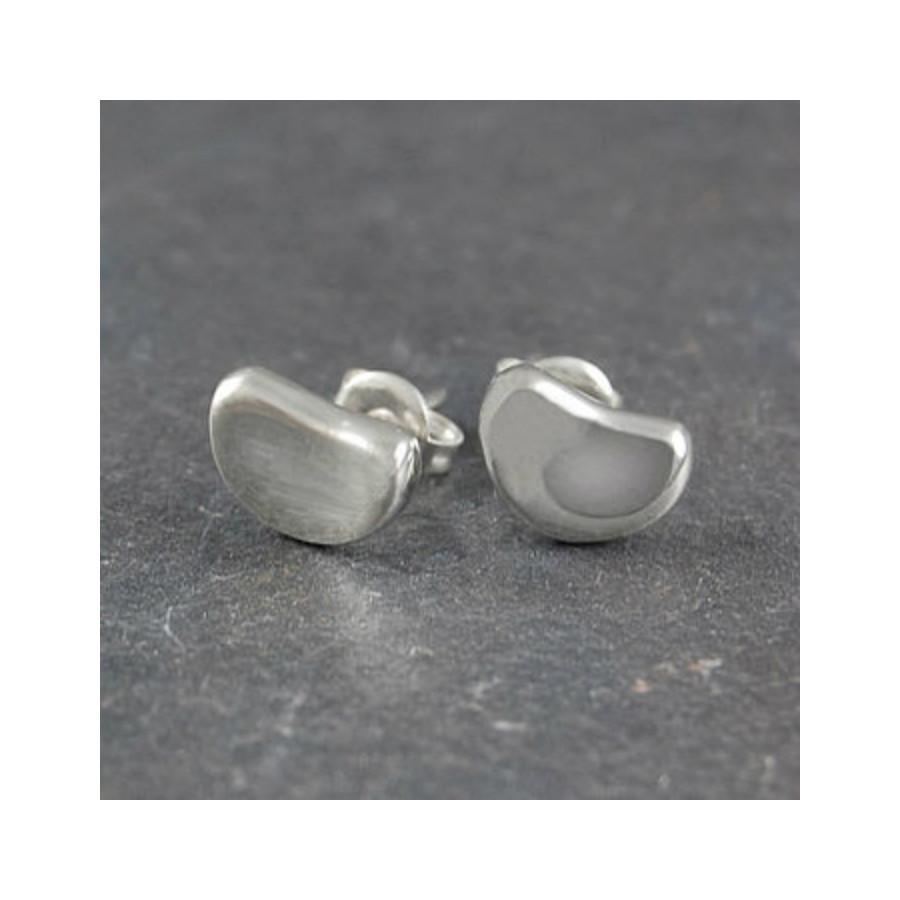Otis Jaxon Silver Bean Stud Earrings