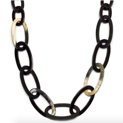 Oval link Horn Necklace| Black/Natural