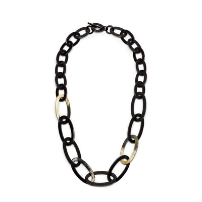 Oval link Horn Necklace | Black/Natural