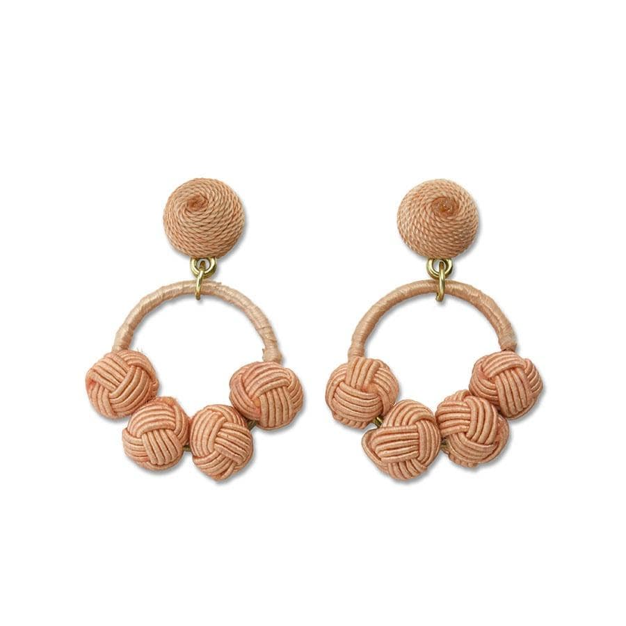 Peach Woven Knot | Loop Earrings