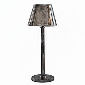 Pewter Style Lamp with Oval Shade
