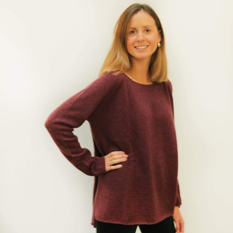 Plum / Large Sweater - Baby Yak Wool