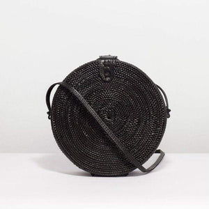 Rattan Round Basket Bag Black