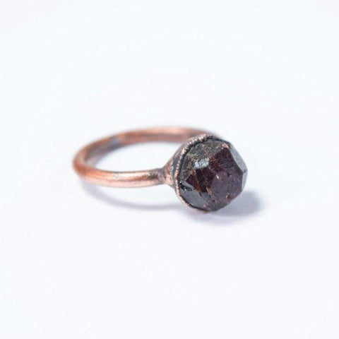 Raw Deep Red Garnet Ring