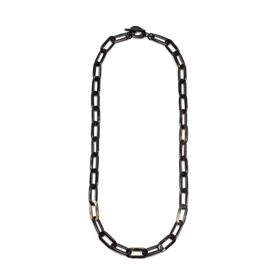 Rectangular Horn Link Necklace | Black/Natural | 90cm