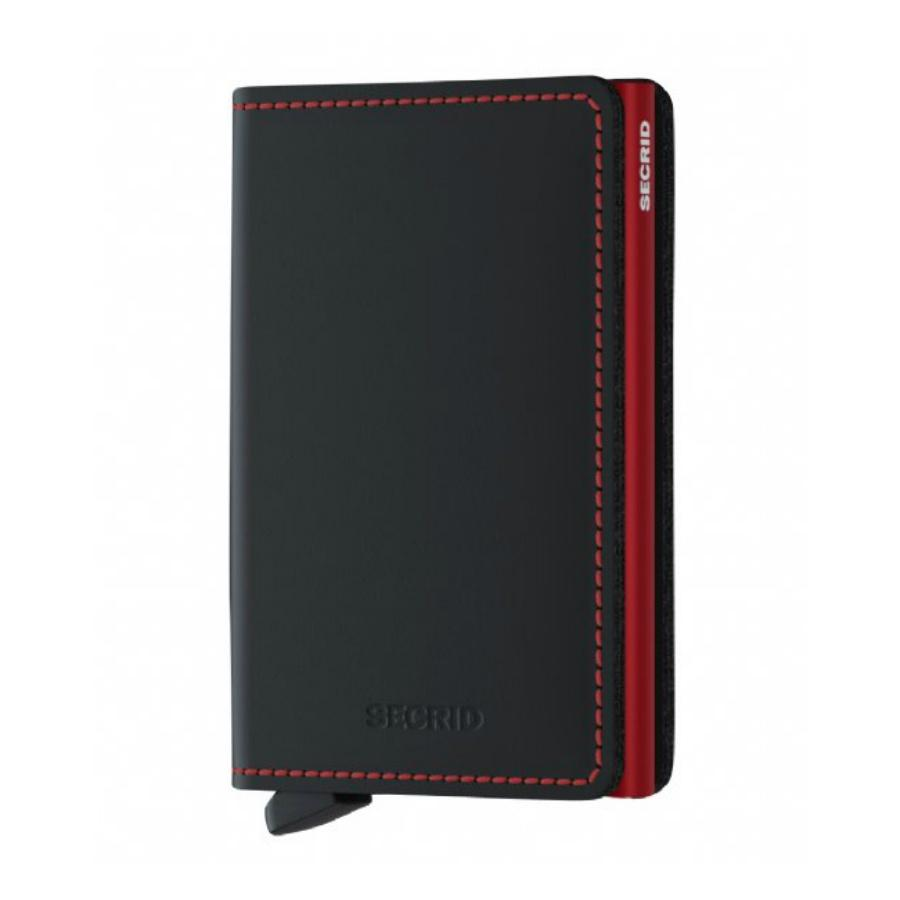 Secrid Matte Leather Slim Wallet - Black/Red