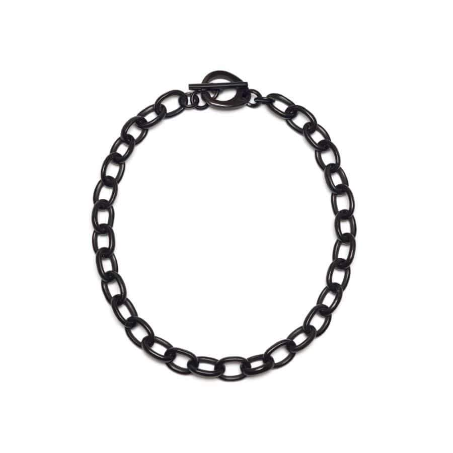 Short Horn Oval link Necklace | Black/Natural