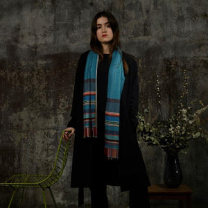 Silk and Wool Scarf Blue