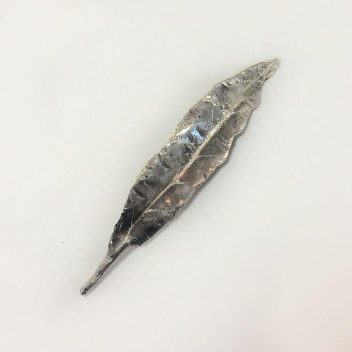 Silver Maire Leaf Brooch