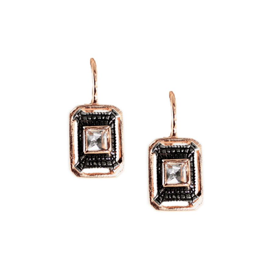 Simply Italian Crystal Fume Rectangle Hook Earrings