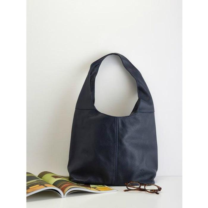 Slouchy Calf-Skin Bag - Navy