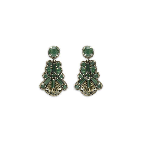 Small Emerald Fan Drop Earrings
