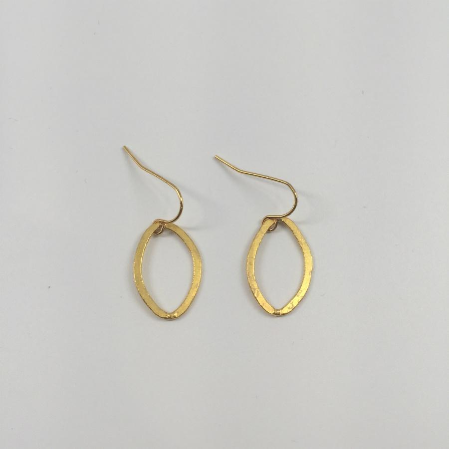 Small Gold Plated Oval Hook Earrings
