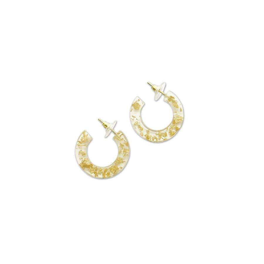 Small Resin & Flecked Gold Hoop Earrings