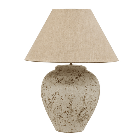 Tuscan style stone lamp and shade