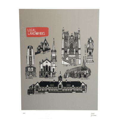 Wellington Local Landmarks Print
