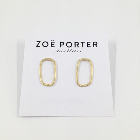 Zoe Porter Rectangle Puddle Studs / 18ct Gold