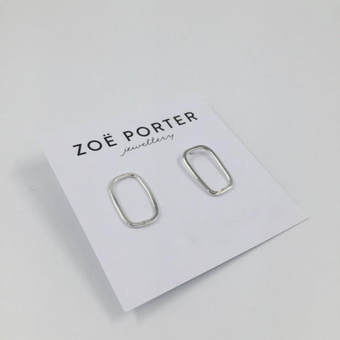 Zoe Porter Rectangle Puddle Studs / Silver