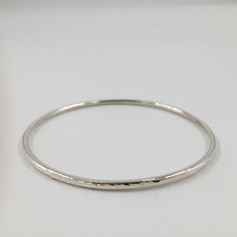 Zoe Porter Silver Hammered Bangle / Extra skinny