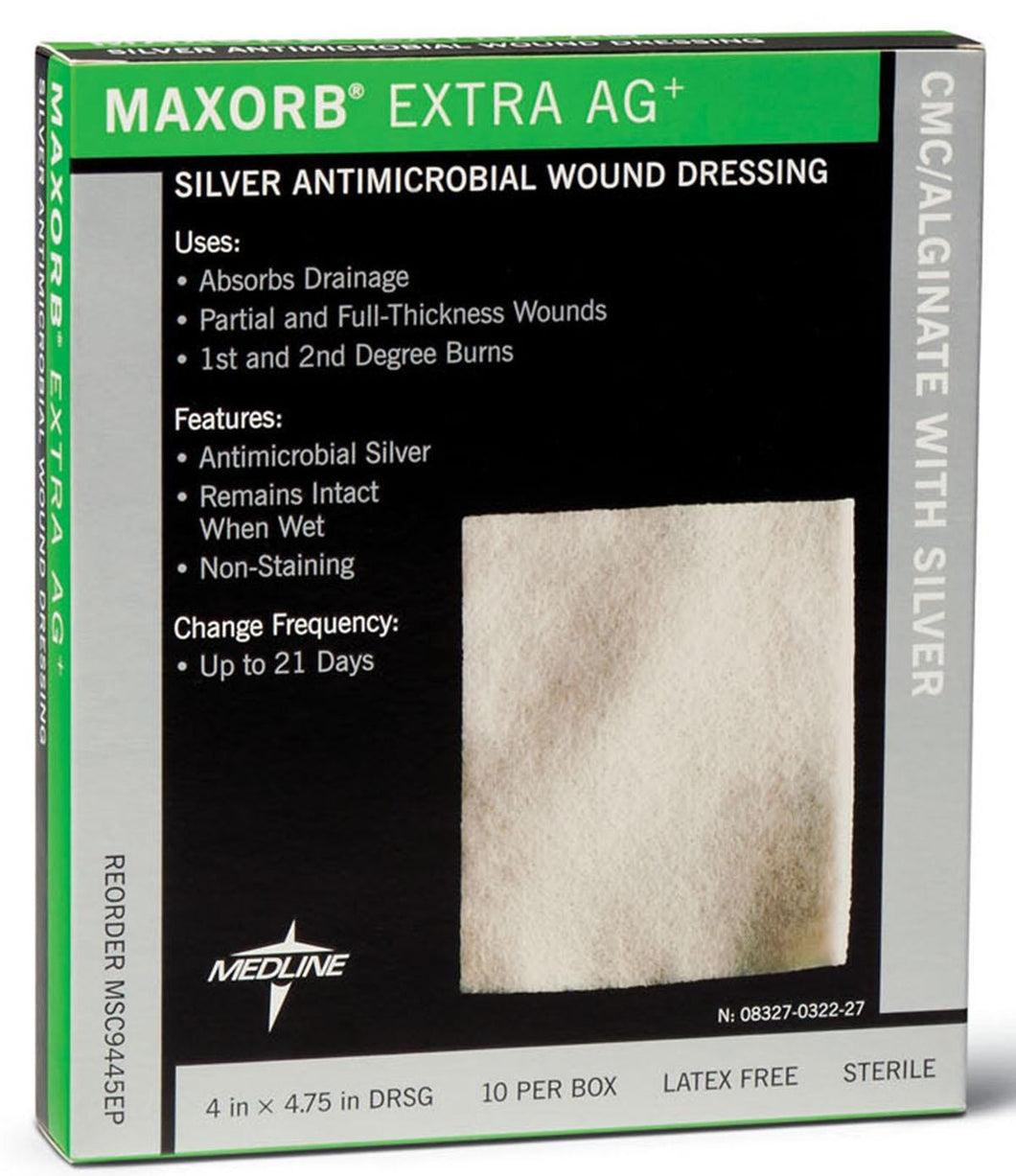 MSC9445EPZ DRESSING, MAXORB® EXTRA AG, ALGNTE, 4X4.75 BY MEDLINE