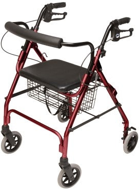 WALKABOUT LITE 4 WHEEL ALUM ROLLATOR-RED - GHP-RJ4300R