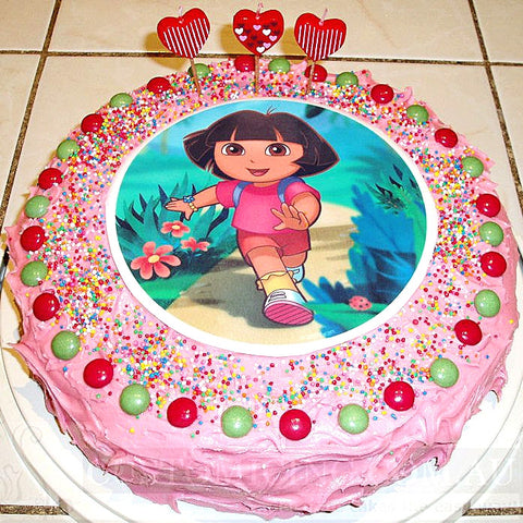 Dora birthday cake edible image
