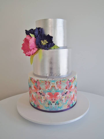 Frosted Indulgence Floral cake wrap with silver tier