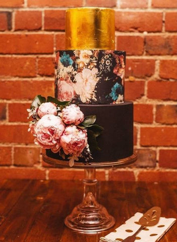 Black Floral edible cake wrap