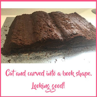 Cake carved to book shape