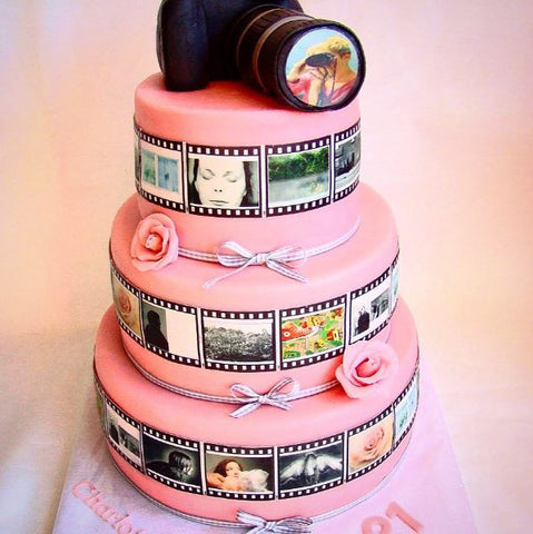 Pink camera roll edible cake wrap