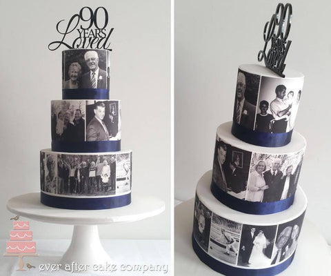 Black and White photo edible cake wrap