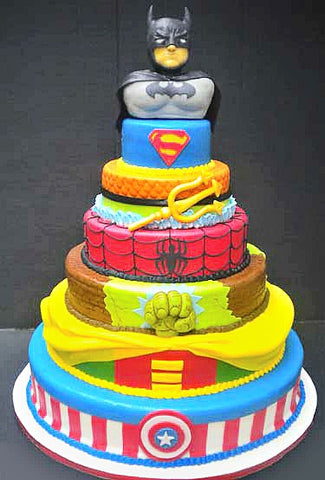 Huge super hero tiered cake