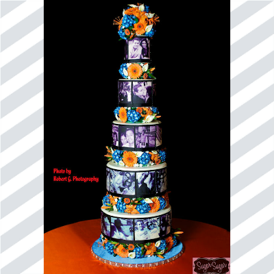 Massive cake wrapped with edible images