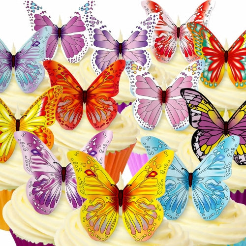 12 Mixed colours Edible Wafer Butterflies (12 pieces)