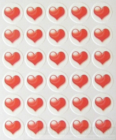 Red Hearts Edible Image Cupcake Toppers 30 x 3.3cm