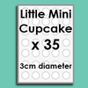 Little Mini Cupcake (35 x 3cm diam) Custom Icing Edible Image Cake Toppers