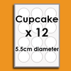 Medium Circles (12 same x 5.5cm diam) Custom Icing Edible Images