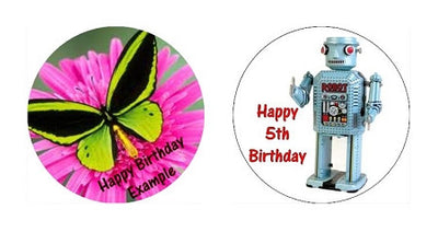 Small Round (8cm diam x 2) Custom Icing Edible Image Cake Toppers
