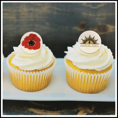 ANZAC Day - Edible Printed Wafer Cupcake Toppers (15 x 3.7cm)