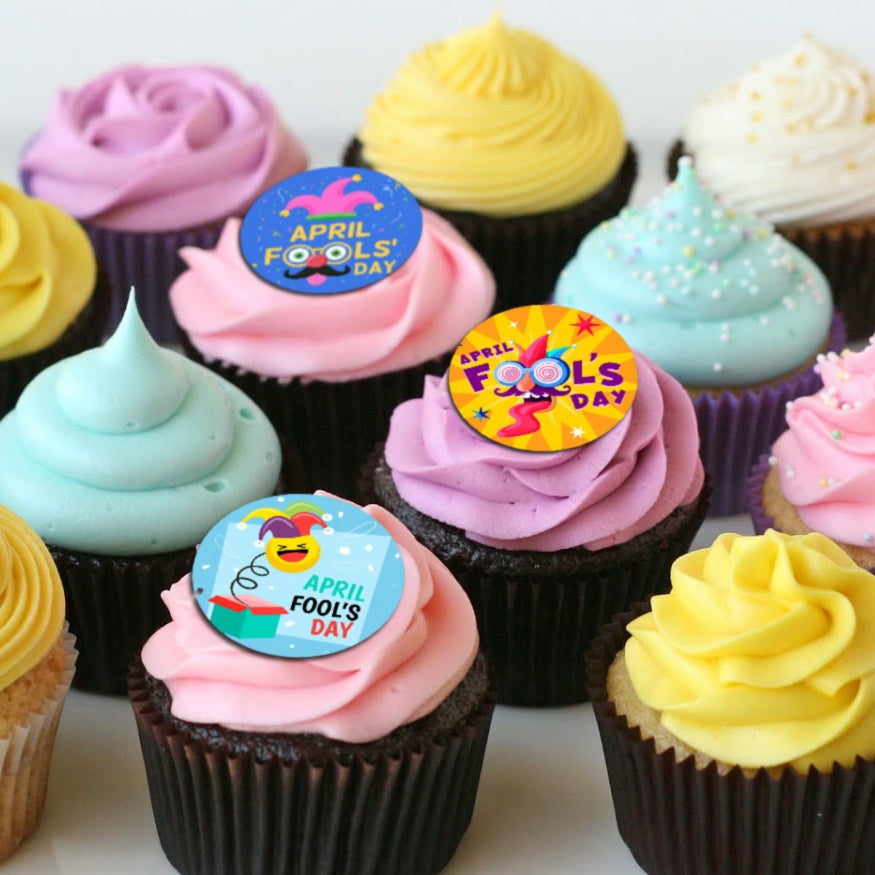 April Fools' Day - Edible Printed Wafer Cupcake Toppers (15 x 3.7cm)