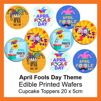April Fools' Day - Edible Printed Wafer Cupcake Toppers (10 x 5cm)