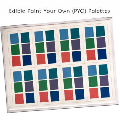 Edible PYO Paint Palette Sheet of 8 (Aqua/Ocean)
