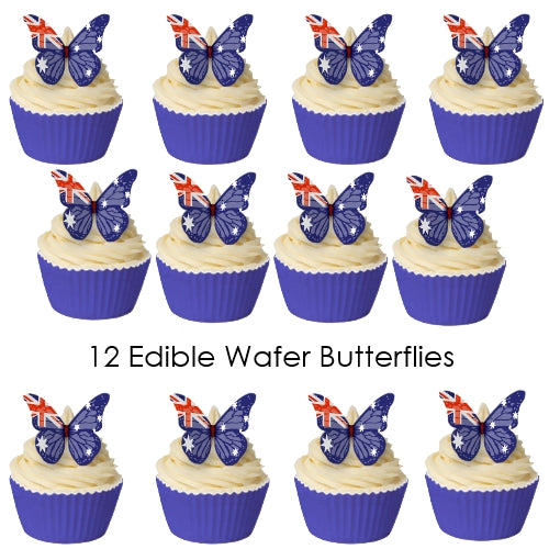 Edible Wafer Australian Flag Butterfly shapes (12 pieces)
