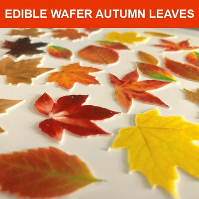 Edible Wafer Card Autumn Leaves - 41 pieces
