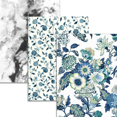 Blue Bouquets Collection - 3 sheets Edible Printed Wafer Paper A4