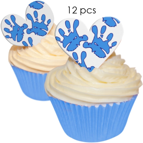 Blue Baby Hands - 5.5cm Edible Wafer Cupcake Toppers (12 pieces)