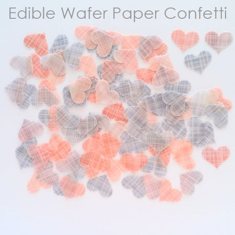 Edible Wafer Confetti - Pink & Purple Hearts - 96 pieces